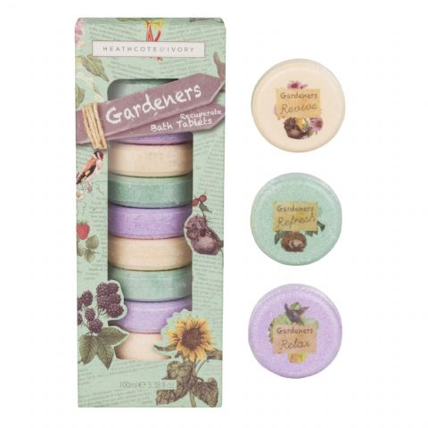 Recuperate Bath Tablets Gift Box 9 x Bath Fizzers - Gardeners Collection Heathcote & Ivory